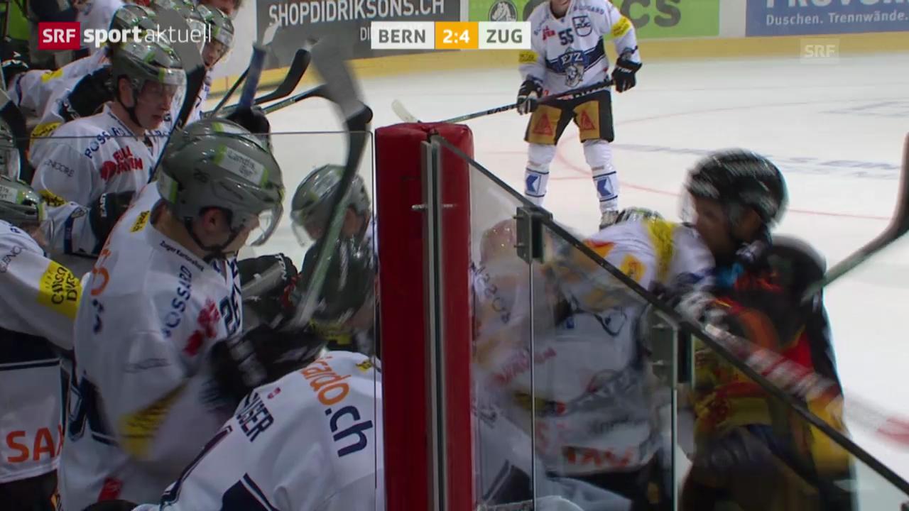 Eishockey: Bern-Zug, Rüfenachts Aktion gegen Bouchard