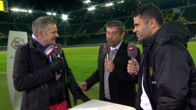 Video «Fussball: Super League, YB - Thun, Gespräch mit den beiden Trainern» abspielen