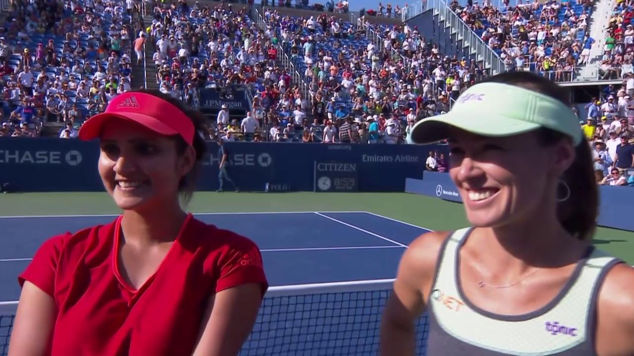 Tennis: US Open 2015, Frauen-Doppel mit Martina Hingis (Platzinterview)