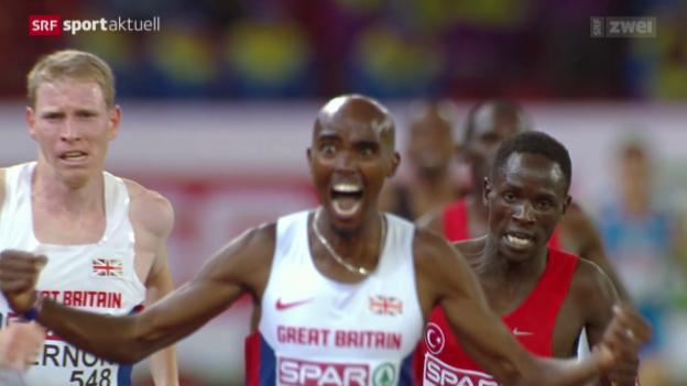 Video «Leichtathletik: Mo Farah Europameister über 10'000 m» abspielen