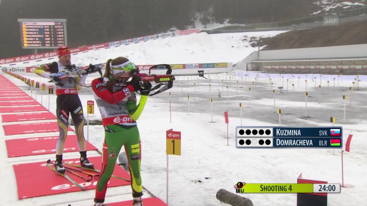 Biathlon: Verfolgung Frauen in Oslo, Schlussphase