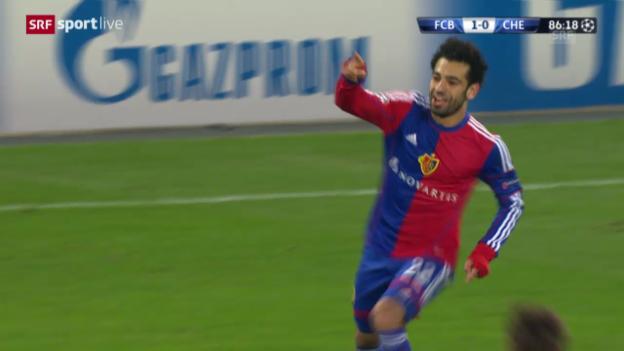 Video «Basel - Chelsea: Der Siegtreffer von Mohamed Salah» abspielen
