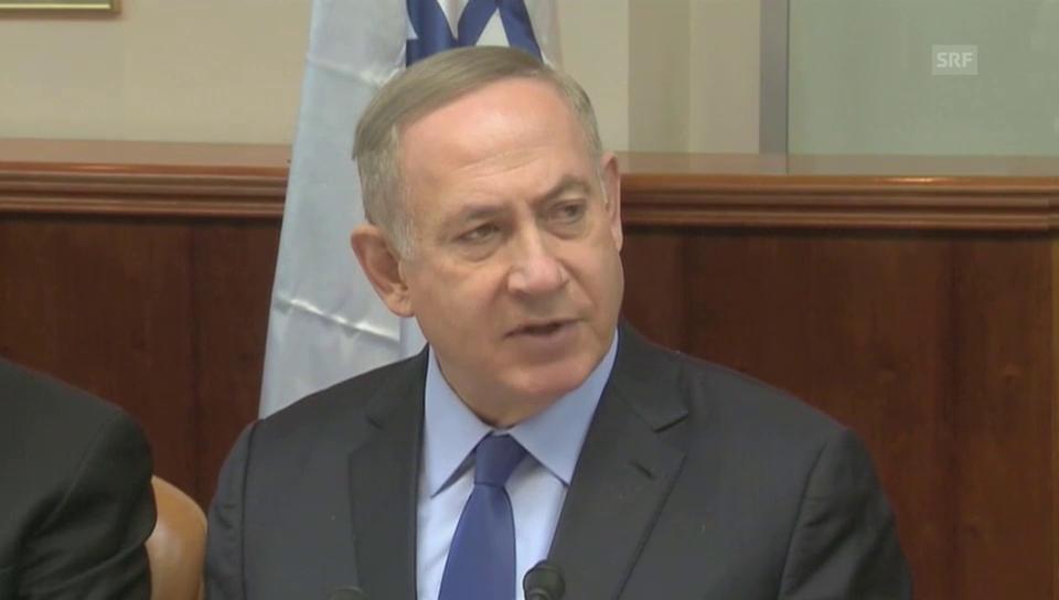 Netanjahu: «Der Frieden rückt weiter weg.» (Originalton)