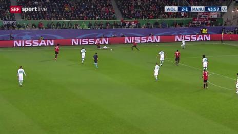 Video «Fussball: Champions League, 6. Spieltag, Gruppe B, Wolfsburg - Manchester United, Tor für ManUnited zählt nicht» abspielen
