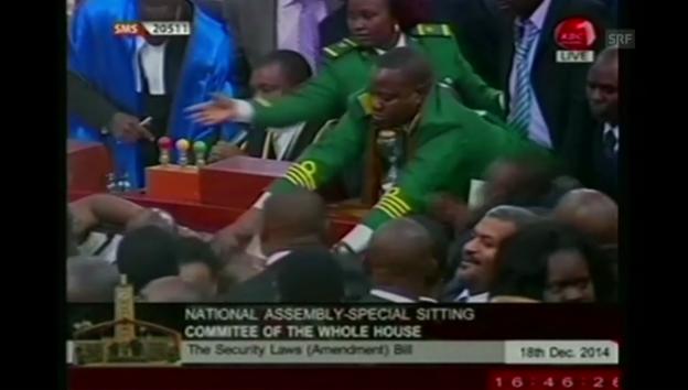 Video «Tumult in kenianischem Parlament» abspielen