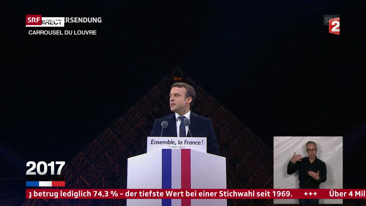 Emmanuels Macrons Rede vor dem Louvre