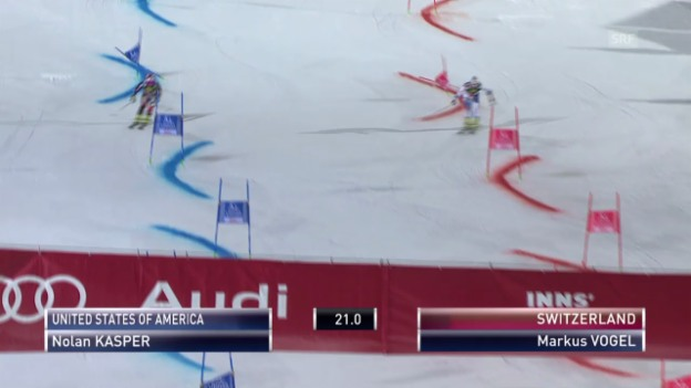 Video «Ski: Team Event Innsbruck, kleiner Final Markus Vogel - Nolan Kasper («sportlive», 25.02.2014)» abspielen