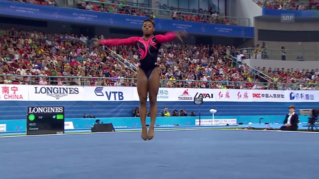 Kunstturnen: WM in Nanning, Boden-Final der Frauen, Übung von Simone Biles