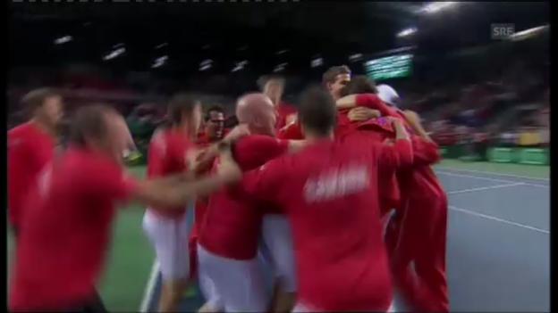 Video «Kanada schlägt Italien - Raonics Matchball gegen Seppi.» abspielen