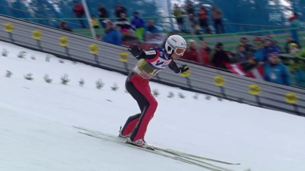 Video «Skispringen: Vierschanzentournee, Qualifikation für das 3. Springen in Innsbruck, die Sprünge von Kilian Peier und Luca Egloff» abspielen