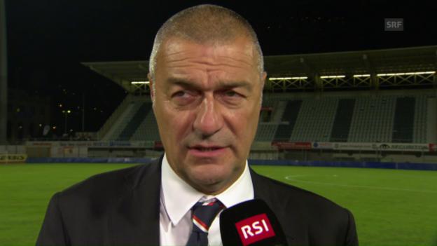 Video «Lugano-Coach Andrea Manzo nach dem GC-Spiel (italienisch)» abspielen
