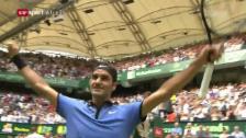 Link öffnet eine Lightbox. Video Federer macht mit Mayer kurzen Prozess abspielen