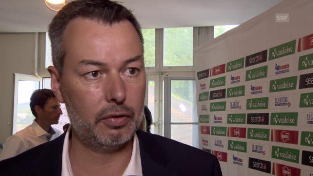 Video «Rad: Tour de Suisse, Umleitung Gotthard-Etappe, Interview Senn» abspielen