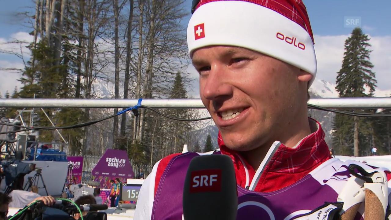 Langlauf: 4x10km Staffel Männer, Interview mit Toni Livers (sotschi direkt, 16.2.2014)