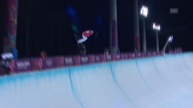Video «Ski Freestyle: Halfpipe Frauen, 2. Qualifikations-Run von Mirjam Jäger (sotschi direkt, 20.02.2014)» abspielen