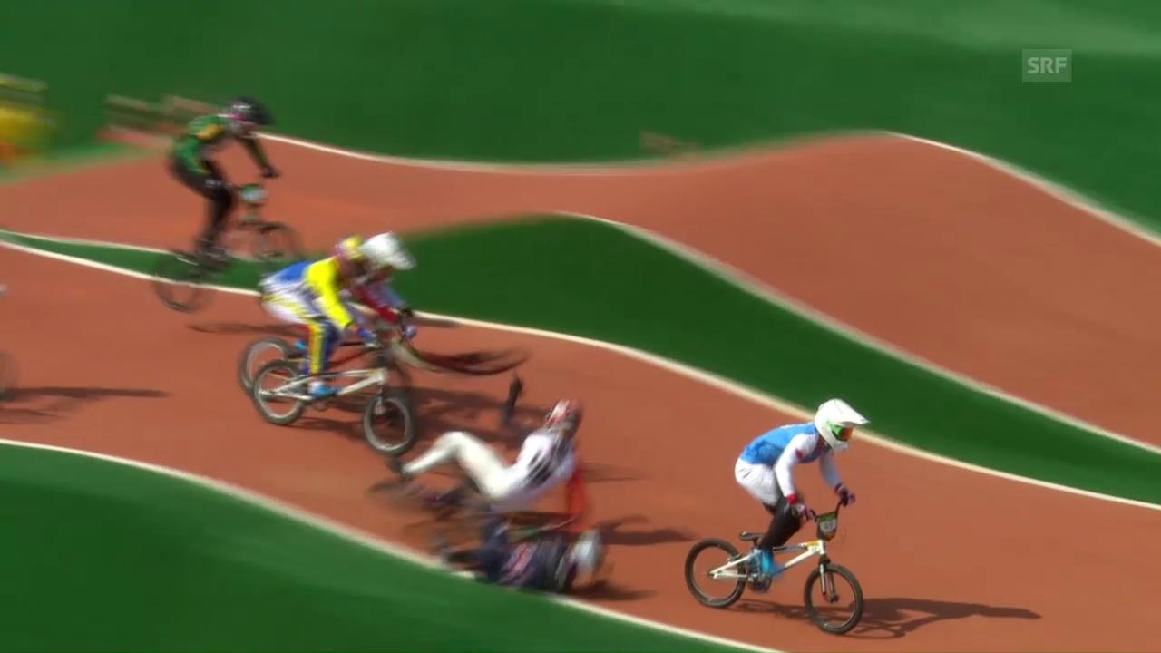 BMX-Fahrer Graf ist in einen Sturz verwickelt