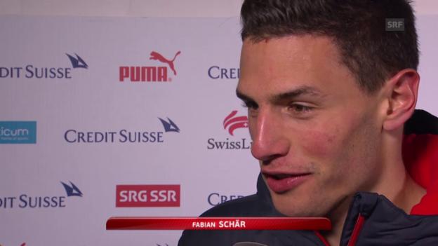Video «Fussball: EURO 2016, Qualifikation, Schweiz – Estland, Interview Fabian Schär» abspielen