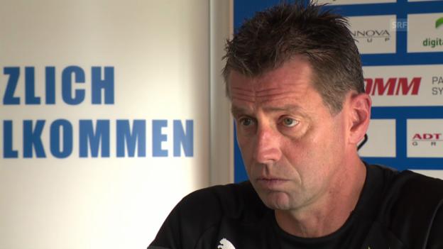 Video «Fussball: Super League, GC-Trainer Skibbe über die Annäherung mit Salatic» abspielen
