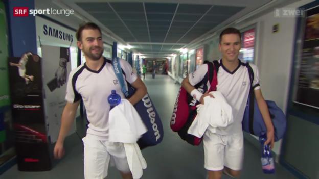 Video «Marco Chiudinelli und Michael Lammer trainieren für's Doppel» abspielen