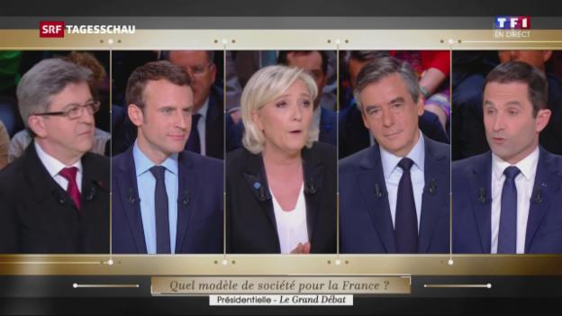 Video «Hartes Duell zwischen Macron und Le Pen» abspielen