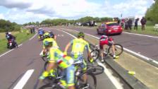 Video «TdF-Mitfavorit Contador stürzt» abspielen