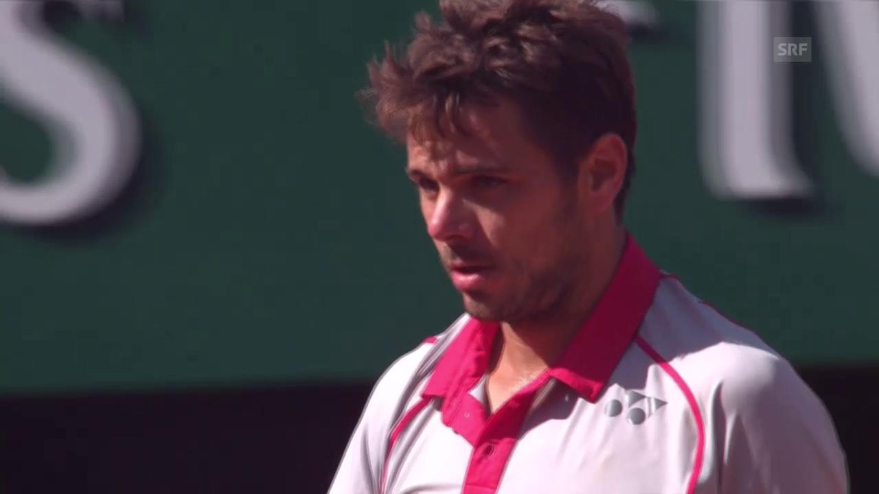 Tennis: Final French Open; Djokovic - Wawrinka, 3. Satz Wawrinka