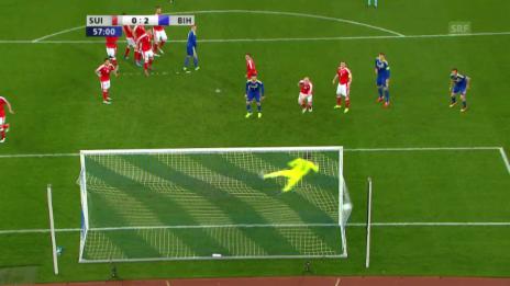 Video «Pjanic schiesst Bosnien 2:0 in Führung - und wie!» abspielen