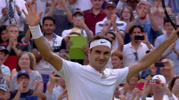Video «Federer gegen Dimitrov mühelos weiter» abspielen