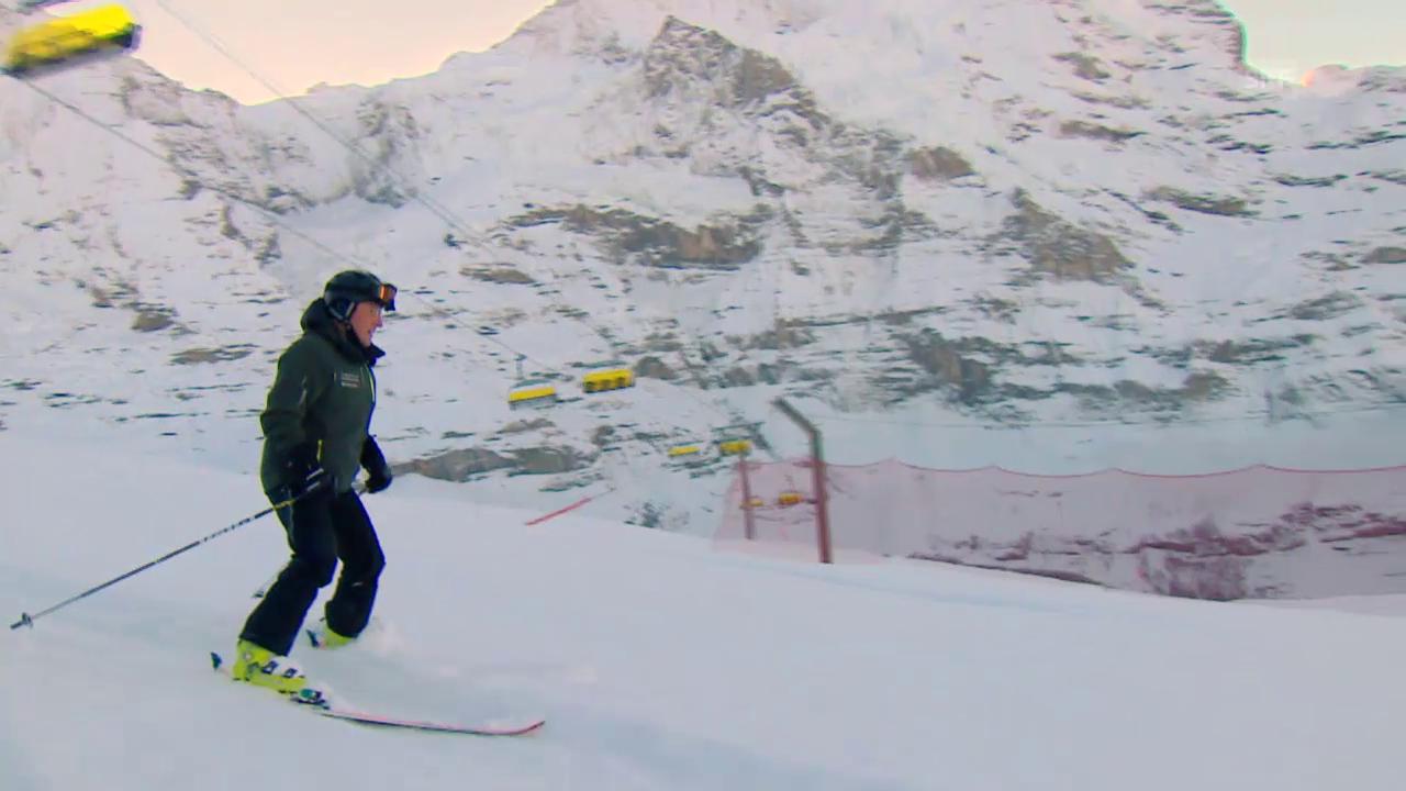 Ski Alpin: Lauberhornabfahrt 2016, Renndirektor Urs Näpflin erkläutert den Zustand der Piste