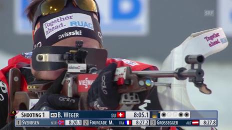 Video «Biathlon: Weger mit zwei Fehlern im Liegendschiessen» abspielen