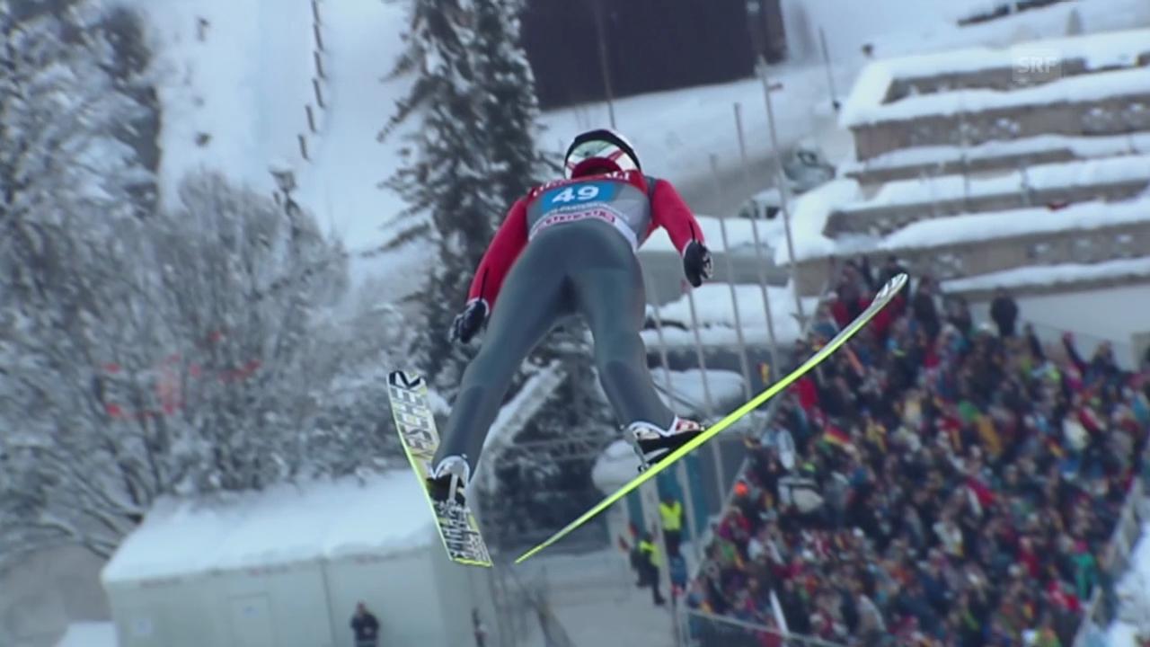 Skispringen: Simon Ammanns 1. Sprung in Garmisch