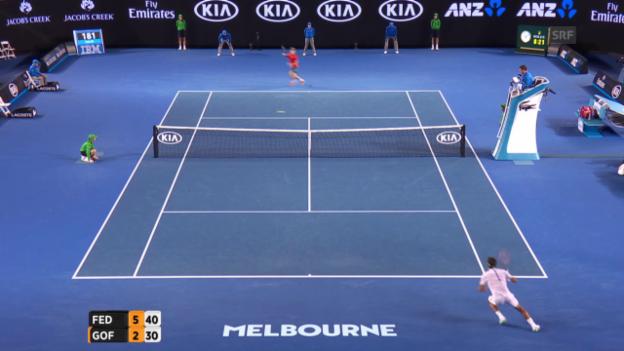 Video «Federer gewinnt den Startsatz gegen Goffin mühelos» abspielen