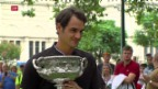 Video «Roger Federer am Tag nach dem Triumph in Melbourne» abspielen
