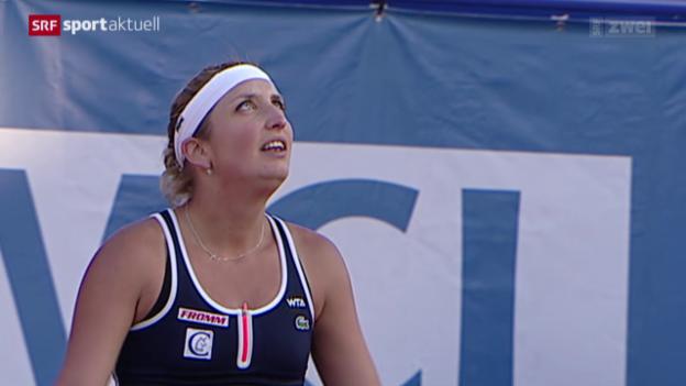 Video «Tennis: WTA-Turnier in Marrakesch, Viertelfinal, Bacsinszky - Schmiedlova» abspielen