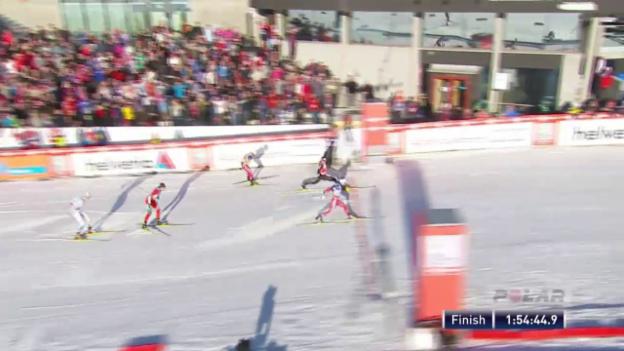 Video «Langlauf: 50-km-Rennen von Oslo, die Schlussphase» abspielen