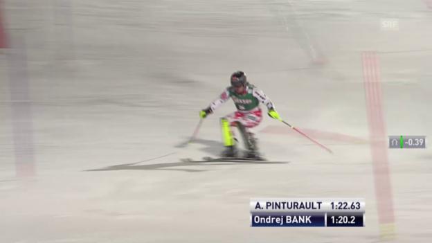Video «Ski Alpin: Super-Kombi Kitzbühel, Slalom-Lauf von Ondrej Bank» abspielen