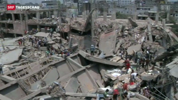 Video «Viele Tote bei Gebäudeeinsturz in Bangladesch» abspielen