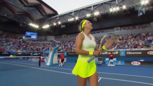 Video «Tennis: Australian Open, 3. Runde, Asarenka-Zahlavova» abspielen