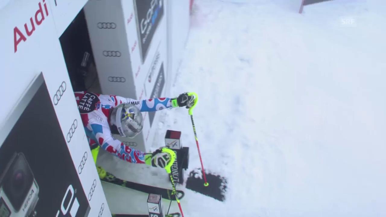 Ski: Männer-Slalom in Méribel, Purzelbaum von Lizeroux