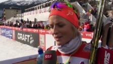 Video «Langlauf: Weltcup Davos, 10 km klassisch Frauen, Therese Johaug über ihren 2. Saison-Sieg» abspielen