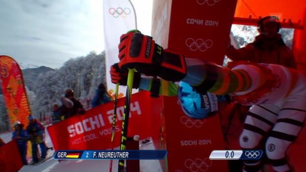 Video «Ski: Riesenslalom Männer Sotschi, 1. Lauf von Felix Neureuther (sotschi direkt, 19.2.14)» abspielen