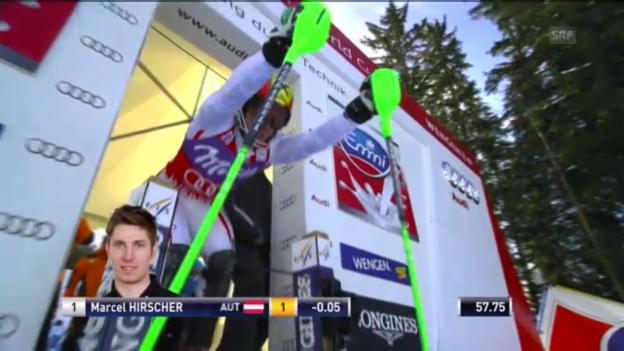 Video «Ski alpin: 2. Slalomlauf Hirscher in Wengen («sportlive»)» abspielen