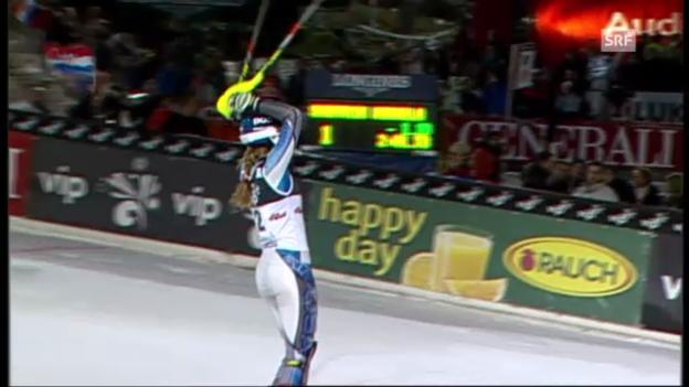 Video «Slalom Zagreb: 2. Lauf Shiffrin» abspielen