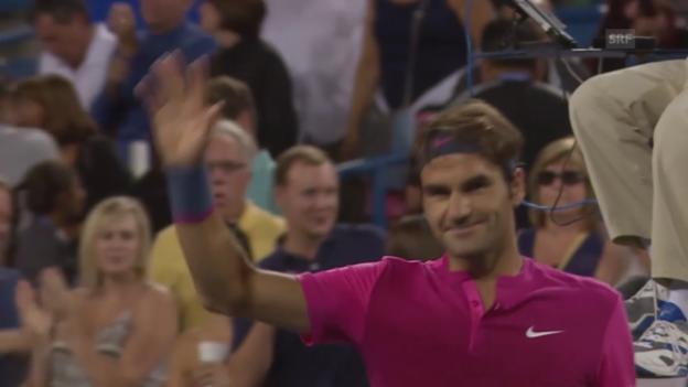 Video «Tennis: Achtelfinal Cincinnati, Highlights Federer - Anderson (Quelle: SNTV)» abspielen