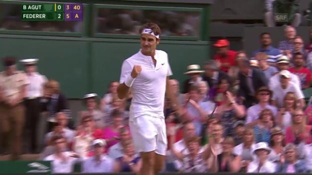 Video «Tennis: Wimbledon, Federer - Bautista Agut» abspielen