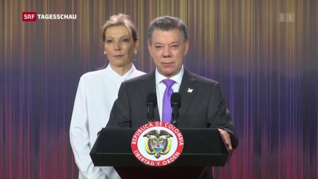Video «Friedensnobelpreis für Kolumbiens Präsident» abspielen