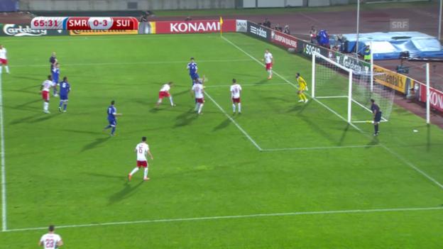 Video «Fussball: EM-Quali, San Marino-Schweiz, Chance Widmer» abspielen