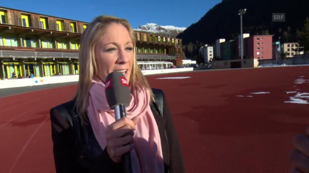 Video «Eishockey: Daniela Ryf am Spengler Cup» abspielen
