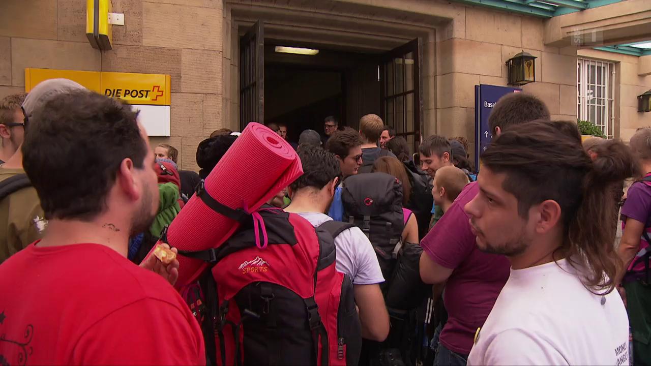 G20-Gegner am Badischen Bahnhof
