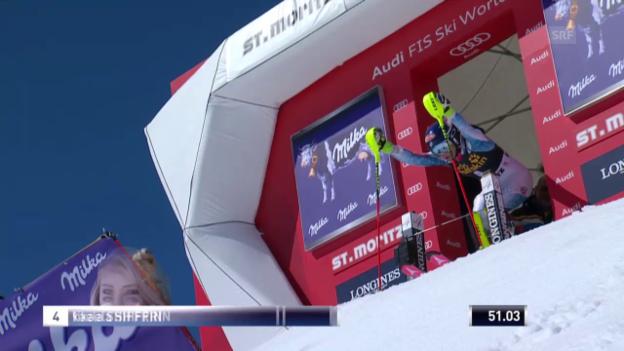 Video «Shiffrin fährt in überlegener Manier zum Sieg in St. Moritz» abspielen